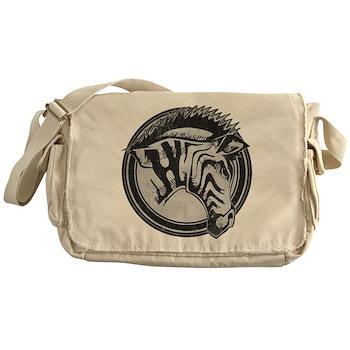 Distressed Wild Zebra Stamp Canvas Messenger Bag