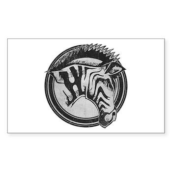 Distressed Wild Zebra Stamp Rectangle Sticker