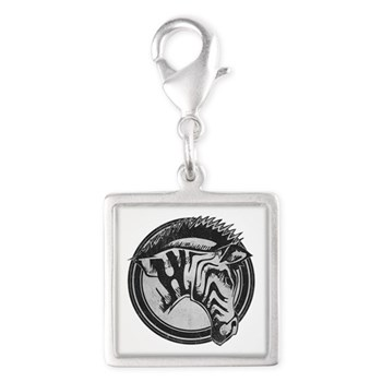 Distressed Wild Zebra Stamp Silver Square Charm