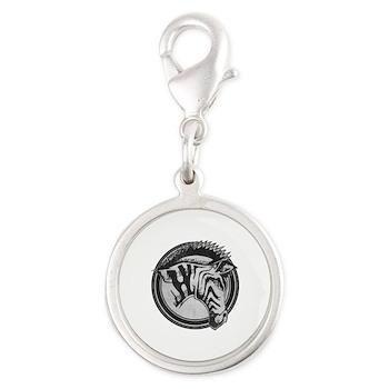Distressed Wild Zebra Stamp Silver Round Charm