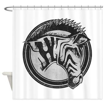 Distressed Wild Zebra Stamp Shower Curtain