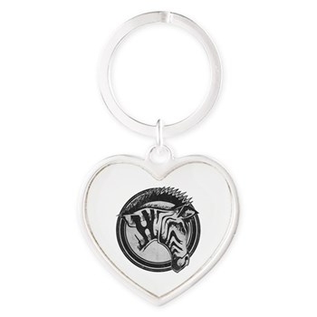 Distressed Wild Zebra Stamp Heart Keychain
