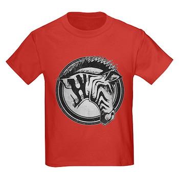 Distressed Wild Zebra Stamp Kids Dark T-Shirt