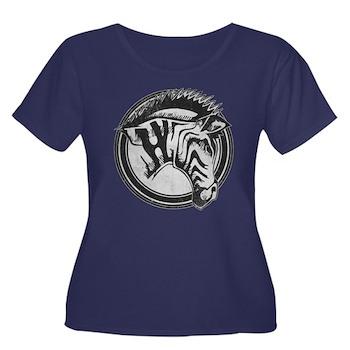 Distressed Wild Zebra Stamp Women's Dark Plus Size