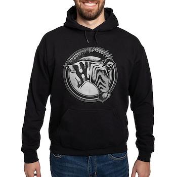 Distressed Wild Zebra Stamp Dark Hoodie