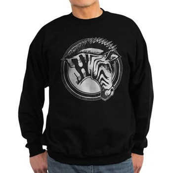 Distressed Wild Zebra Stamp Dark Sweatshirt