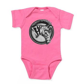 Distressed Wild Zebra Stamp Baby Bodysuit