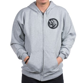 Distressed Wild Elephant Stamp Zip Hoodie