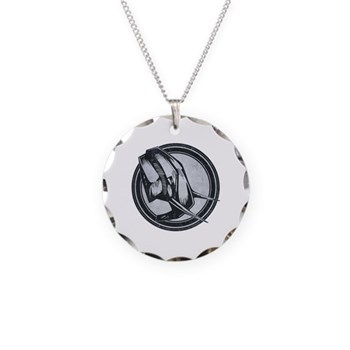 Distressed Wild Elephant Stamp Necklace Circle Cha
