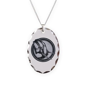 Distressed Wild Elephant Stamp Necklace Oval Charm