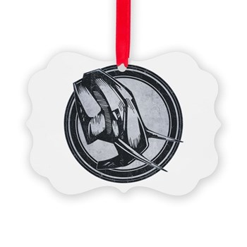Distressed Wild Elephant Stamp Picture Ornament