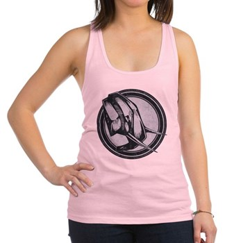 Distressed Wild Elephant Stamp Racerback Tank Top