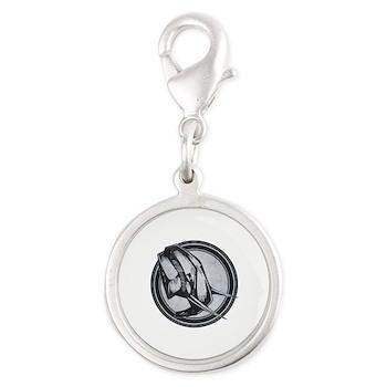 Distressed Wild Elephant Stamp Silver Round Charm