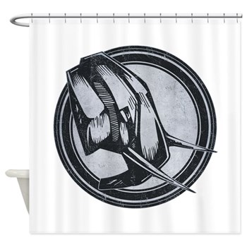 Distressed Wild Elephant Stamp Shower Curtain