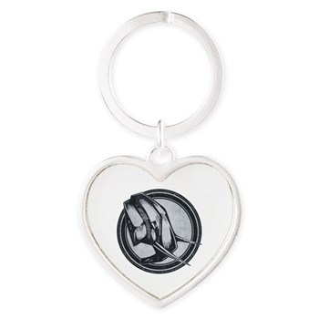 Distressed Wild Elephant Stamp Heart Keychain
