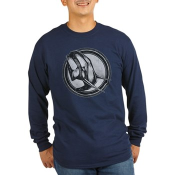 Distressed Wild Elephant Stamp Long Sleeve Dark T-