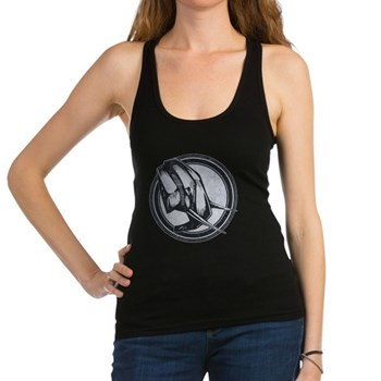 Distressed Wild Elephant Stamp Dark Racerback Tank