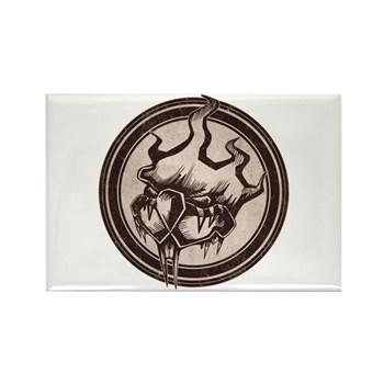 Distressed Wild Beaver Stamp Rectangle Magnet (10
