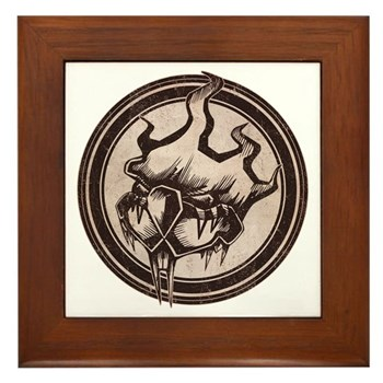 Distressed Wild Beaver Stamp Framed Tile