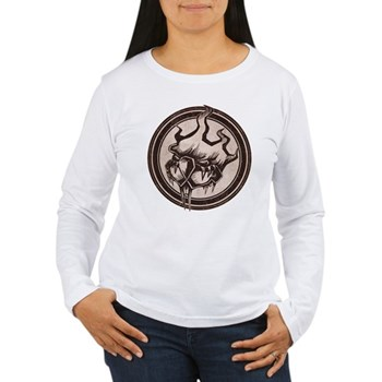 Distressed Wild Beaver Stamp Women's Long Sleeve T