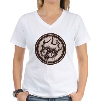 Distressed Wild Beaver Stamp Women's V-Neck T-Shir