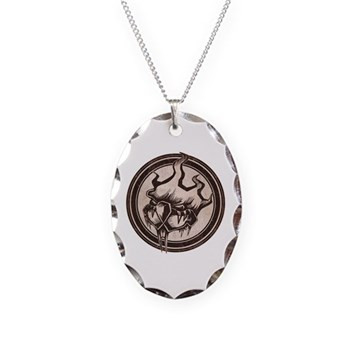 Distressed Wild Beaver Stamp Necklace Oval Charm