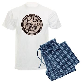 Distressed Wild Beaver Stamp Men's Light Pajamas