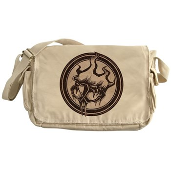 Distressed Wild Beaver Stamp Canvas Messenger Bag