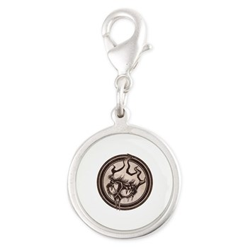 Distressed Wild Beaver Stamp Silver Round Charm