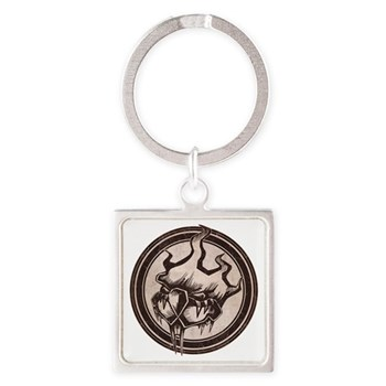 Distressed Wild Beaver Stamp Square Keychain