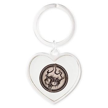 Distressed Wild Beaver Stamp Heart Keychain