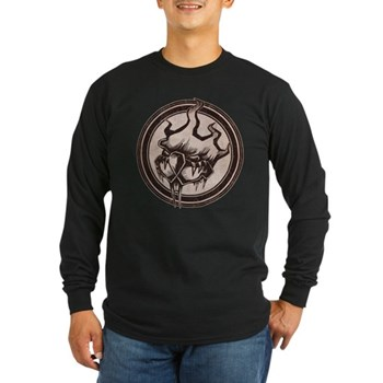 Distressed Wild Beaver Stamp Long Sleeve Dark T-Sh