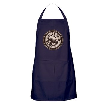 Distressed Wild Beaver Stamp Dark Apron