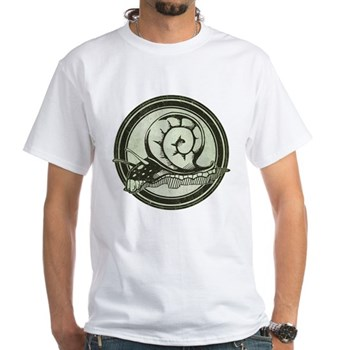 Distressed Wild Snail Stamp White T-Shirt