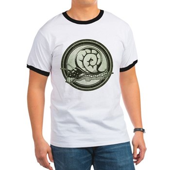 Distressed Wild Snail Stamp Ringer T-Shirt