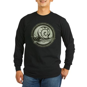 Distressed Wild Snail Stamp Long Sleeve Dark T-Shi