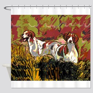 Brittany spaniels in the field Shower Curtain