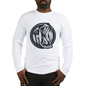 Distressed Wild Hippo Stamp Long Sleeve T-Shirt
