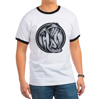 Distressed Wild Hippo Stamp Ringer T-Shirt