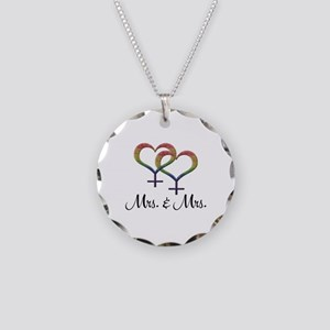 Mrs. and Mrs. Necklace Circle Charm
