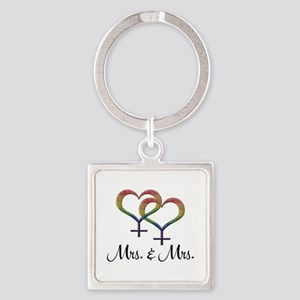 Mrs. and Mrs. Square Keychain