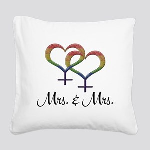 Mrs. and Mrs. Square Canvas Pillow