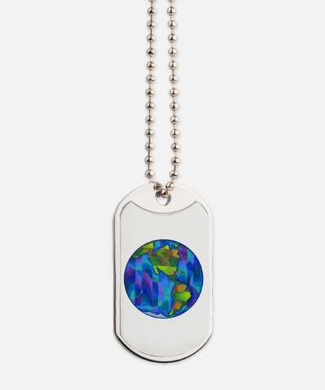 Planet Earth Art Dog Tags