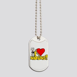 I Heart Nouns Dog Tags
