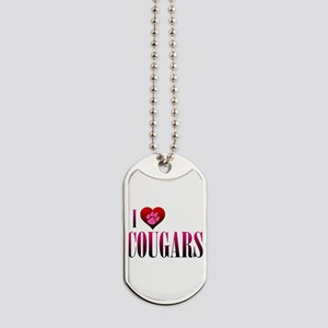 I Heart Cougars Dog Tags