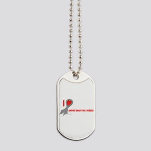 Gray I Heart/Support Support Dog Tags