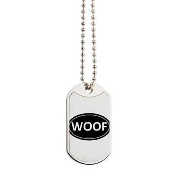 WOOF Black Euro Oval Dog Tags