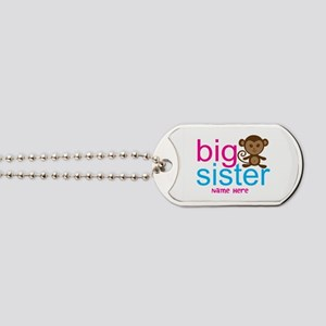 Personalized Big Sister Monkey Dog Tags