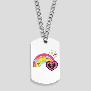 Girly Add Image Rainbow Dog Tags