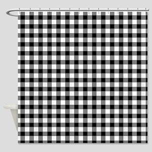 Buffalo Plaid Black and White Shower Curtain
